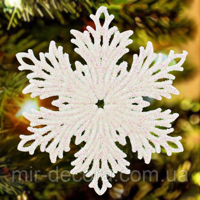 Новогодний декор елочное украшение Снежинка на елку 15 см