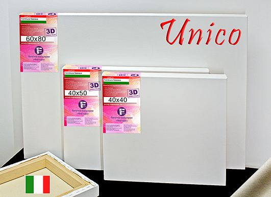 Холст на подрамнике Factura Unico3D 100х150 см Итальянский хлопок 335 грамм кв.м. среднее зерно белый, фото 1