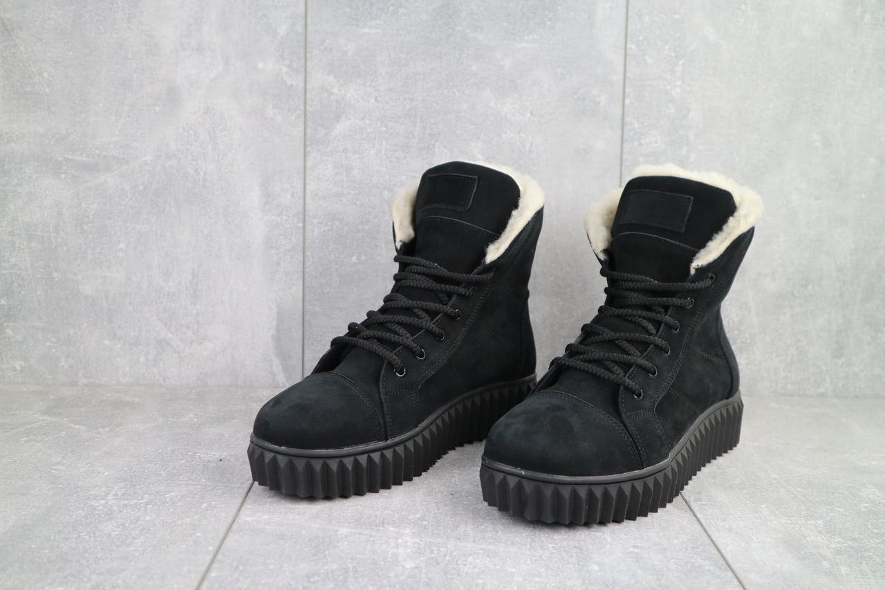 Ботинки женские CrosSav 151 из натурльной кожи нубук комфортные на шнуровке, черные