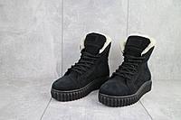 Ботинки женские CrosSav 151 из натурльной кожи нубук комфортные на шнуровке, черные, фото 1
