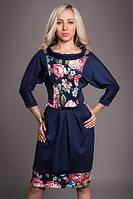 Платье с цветочной вставкой, р 50,52