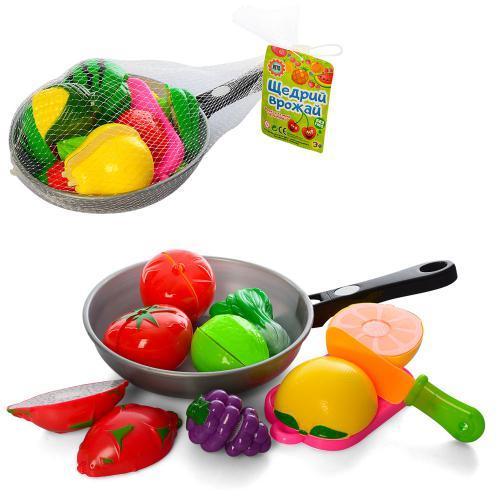 Продукты на липучке, досточка, ножик, в сковородке, 2 вида, 3013C