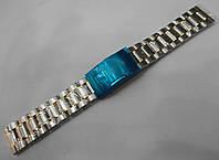 Стальной браслет к Tissot - нержавейка, цвет серебро c золотом