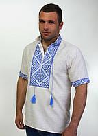 Мужская вышитая рубашка на домотканом льне  , фото 1