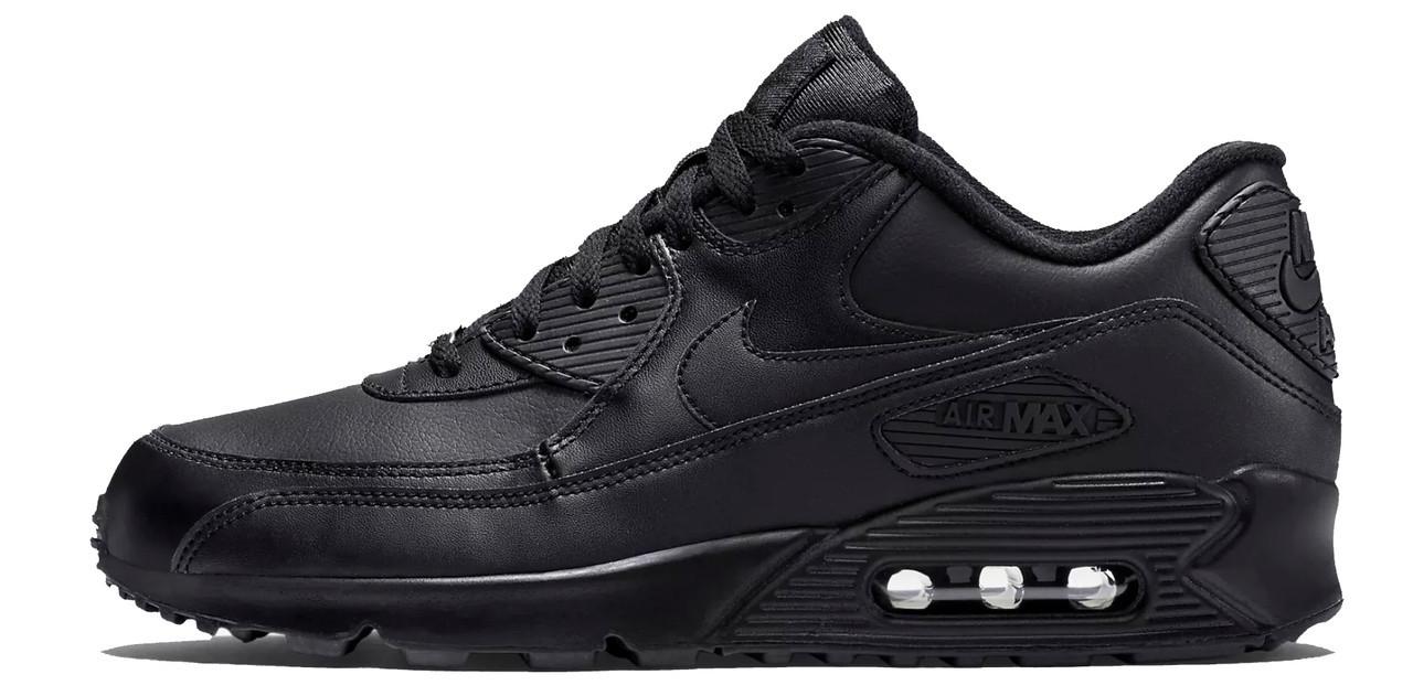 Кроссовки Nike Air Max 90 Leather Black Черные женские