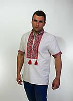 Красивая мужская вышиванка крестиком на домотканом льне