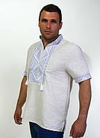 Мужская вышитая рубашка на льне короткий рукав