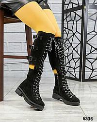 Сапоги демисезонные со шнуровкой, нат. замш черный