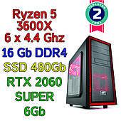 Игровой компьютер / ПК  ( AMD Ryzen 5 3600X  (6 x 4.4GHz) \ B450 \ 16Gb \ 480 Gb \ RTX 2060 SUPER 8Gb \ 600W)