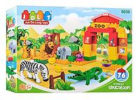 Конструктор JDLT 5030 зоопарк, фигурки животных, 76 дет, в кор-ке, 45-33-9см
