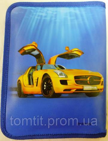 """Папка пластиковая для тетрадей, синяя """"Красное авто"""" (на молнии), фото 2"""