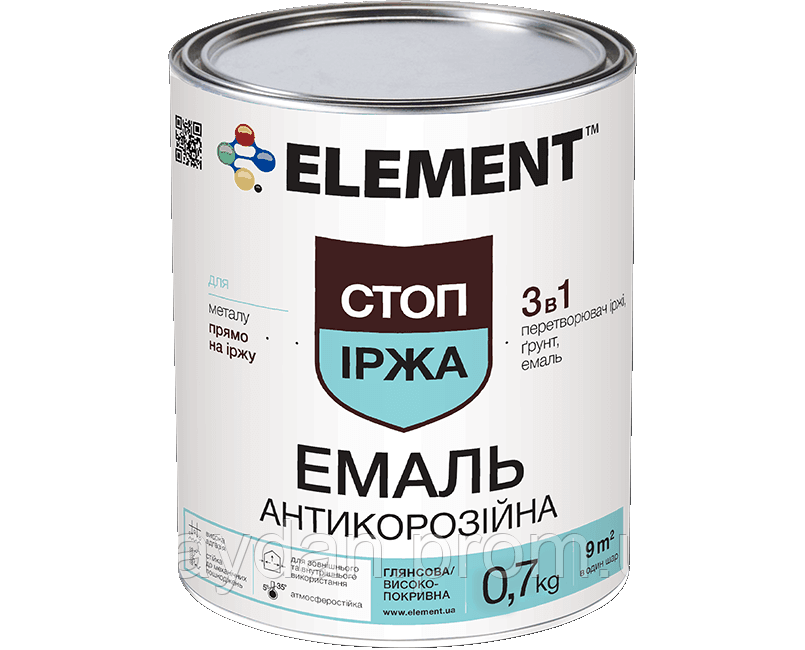Эмаль антикоррозионная ELEMENT СТОП ІРЖА, коричневая