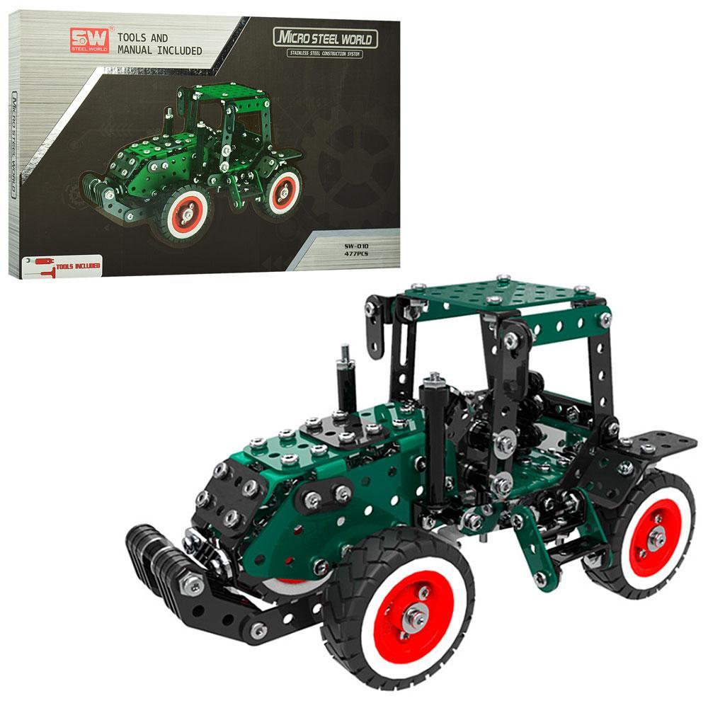 Конструктор металлический, трактор, инструменты, 477дет, SW-010