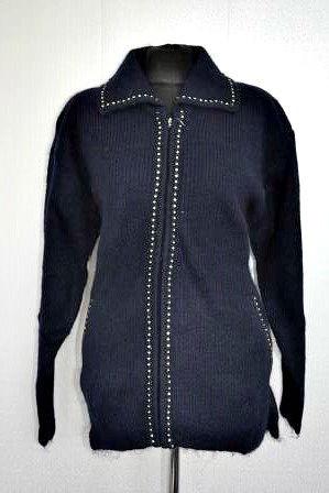 2c6d661805d Теплая шерстяная кофта в синем цвете на молнии - Оптово-розничный магазин  одежды