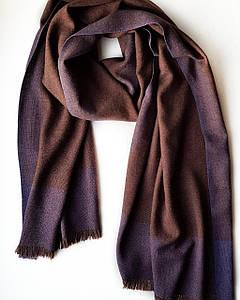 Шарф Chadrin из кашемира и шелка коричневый с фиолетом