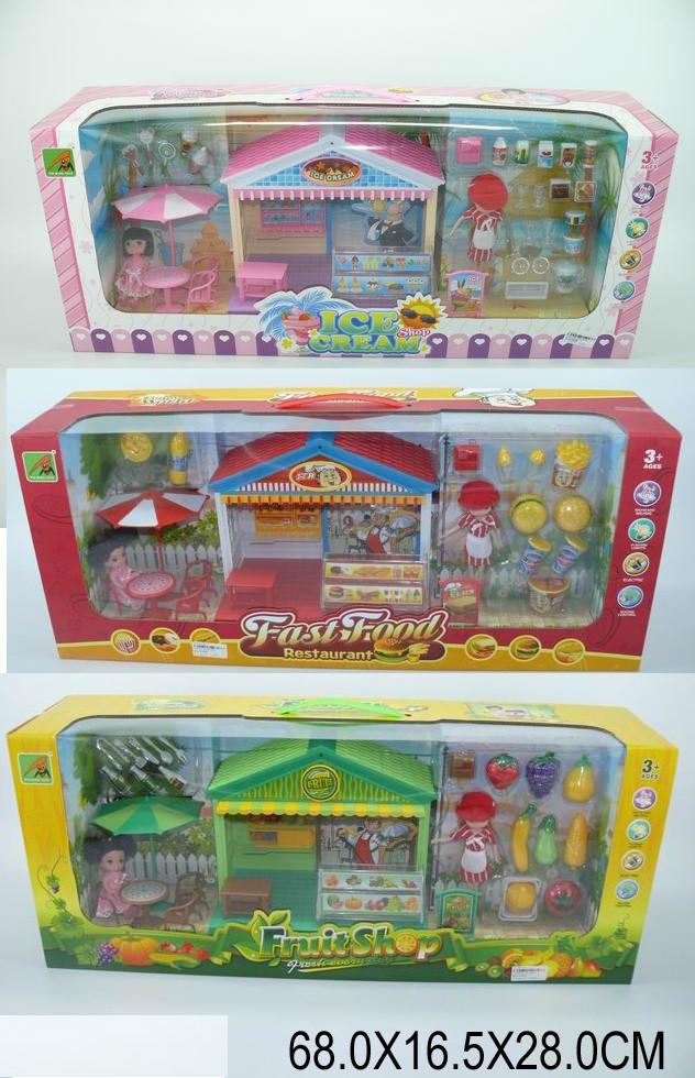 """Мебель для кукол """"Ресторан"""", 2 куклы, дом, стол, продукты..., звук, 2011B-4/2/3/5"""