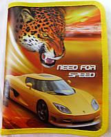 """Папка пластиковая для тетрадей желтая, """"Need for speed"""" (на молнии)"""