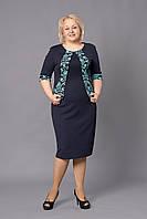 Стильное платье из трикотажа-кукуруза темно-синего цвета с бирюзовой вставкой
