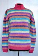 Яркий женский свитер в полоску из шерсти производитель Индия