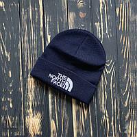 Шапка чоловіча зимова тепла якісна темно-синя The North Face, фото 1