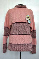 Стильный женский свитер под горло свободной вязки