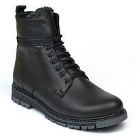 Кожаные зимние ботинки мужские обувь больших размеров на меху Rosso Avangard Whisper 2 Modern Black черные BS