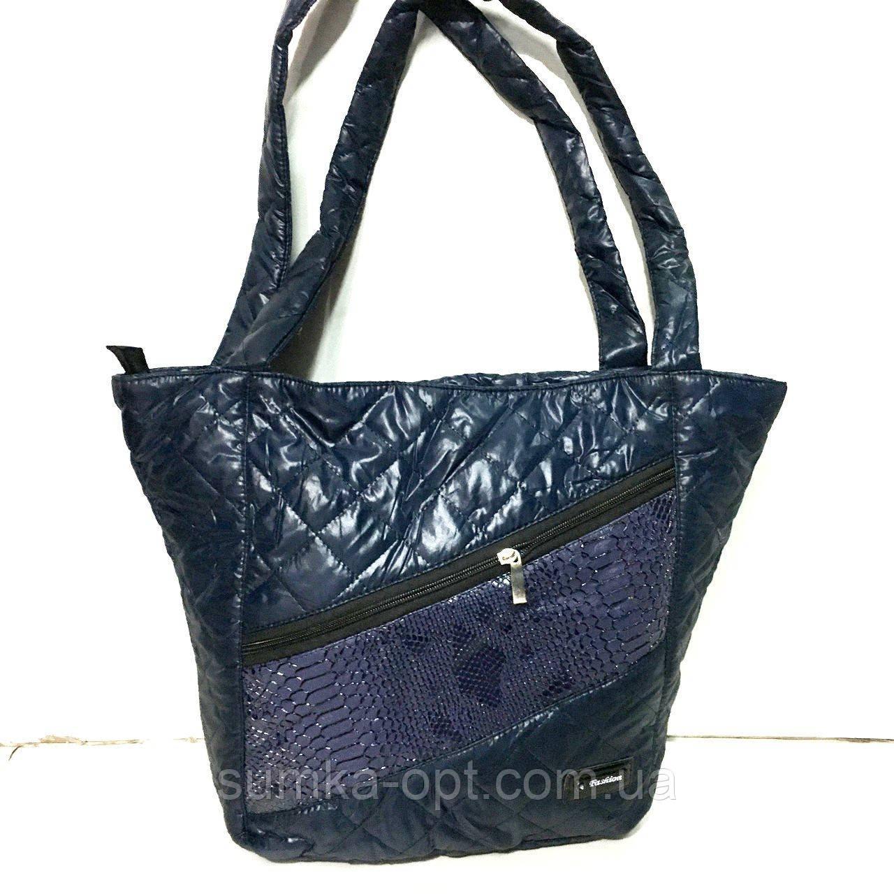 Женские стеганные сумки оптом (СИНИЙ-ПРИНТ-ЗМЕЯ)31*46см
