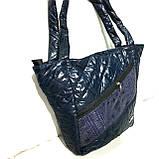 Женские стеганные сумки оптом (СИНИЙ-ПРИНТ-ЗМЕЯ)31*46см, фото 3