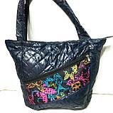 Женские стеганные сумки оптом (СИНИЙ-ПРИНТ-ЗМЕЯ)31*46см, фото 4