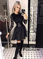 Женское стильное выпускное (вечернее) платье гипюр с пышной юбкой