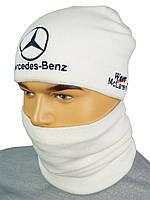 Оригінальний комплект для чоловіків шапка і баф в стилі MERCEDES M-2019 white
