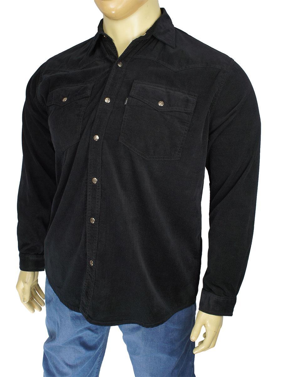 Чорна чоловіча сорочка Dekons 800 Black великих розмірів