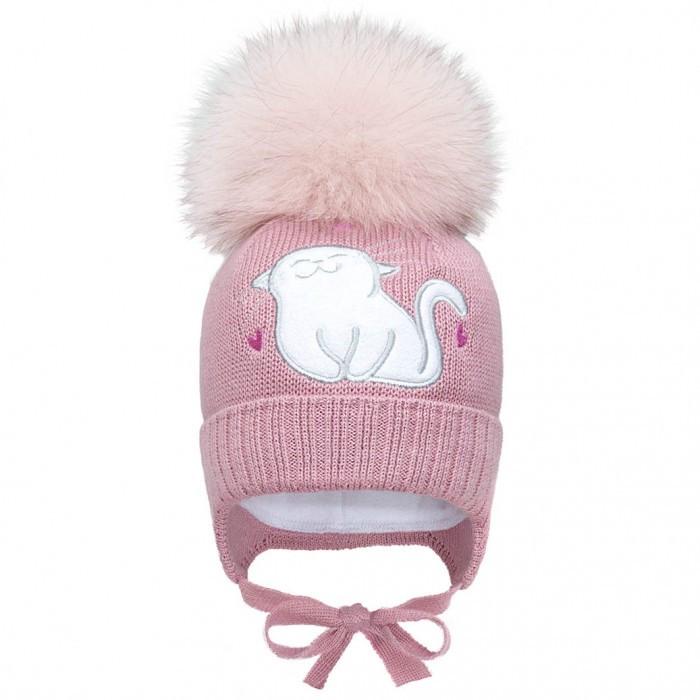 Зимняя шапка для девочки с большим натуральным бубоном р-р 40,42