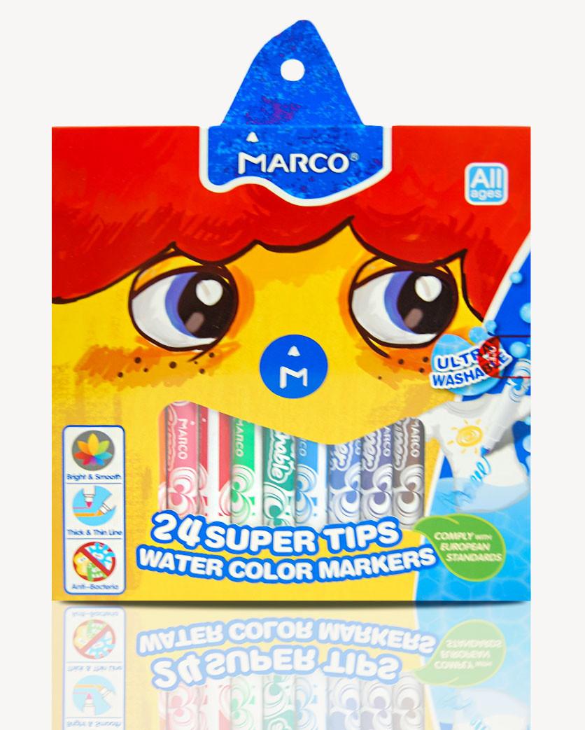 Фломастеры 24 цвета Super Washable, Marco, 1630-24CB