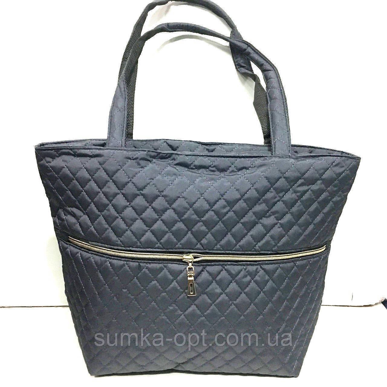 Женские стеганные сумки со змейкой (СЕРЫЙ)32*34см