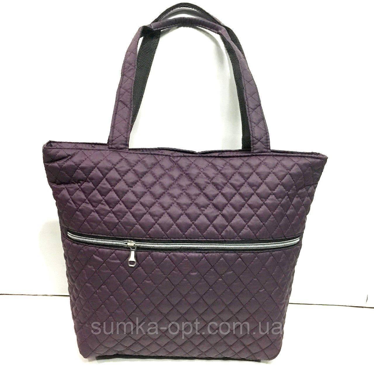 Женские стеганные сумки со змейкой (БАКЛАЖАН)32*34см