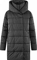 Стильная женская зимняя куртка длинная с высоким воротом и хорошим капюшоном ХХС-12ХХЛ, диагональная прострочк, фото 1