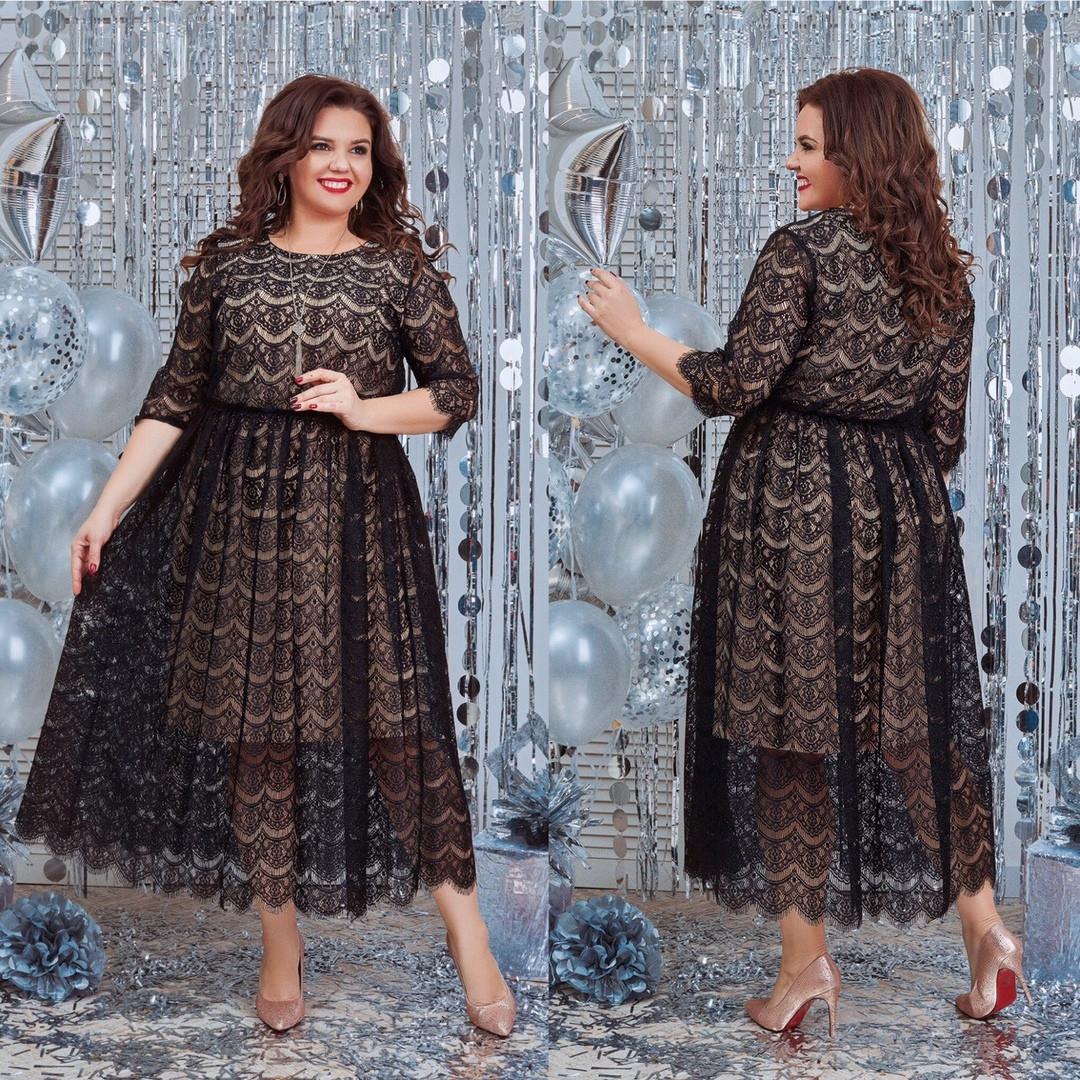 Женское нарядное кружевное платье низ масло удлиненное размер: 48-50, 52-54, 56-58