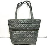 Дутые, болоньевые сумки под пуховик со змейкой (ЧЕРНЫЙ)30*44см, фото 3