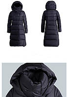 Стильная женская зимняя куртка длинная с высоким воротом и хорошим капюшоном ХХС-12ХХЛ, диагональная и ровная, фото 1