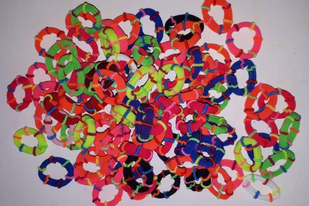 Резинка маленькая, 100шт./упак., цветная, шайба, 4152039
