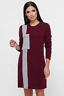 Женское короткое теплое платье марсала, фото 1