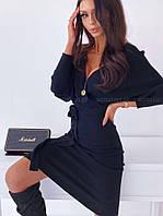 Женское однотонное красивое нарядное миди платье с декольте (кукуруза) 3 цвета