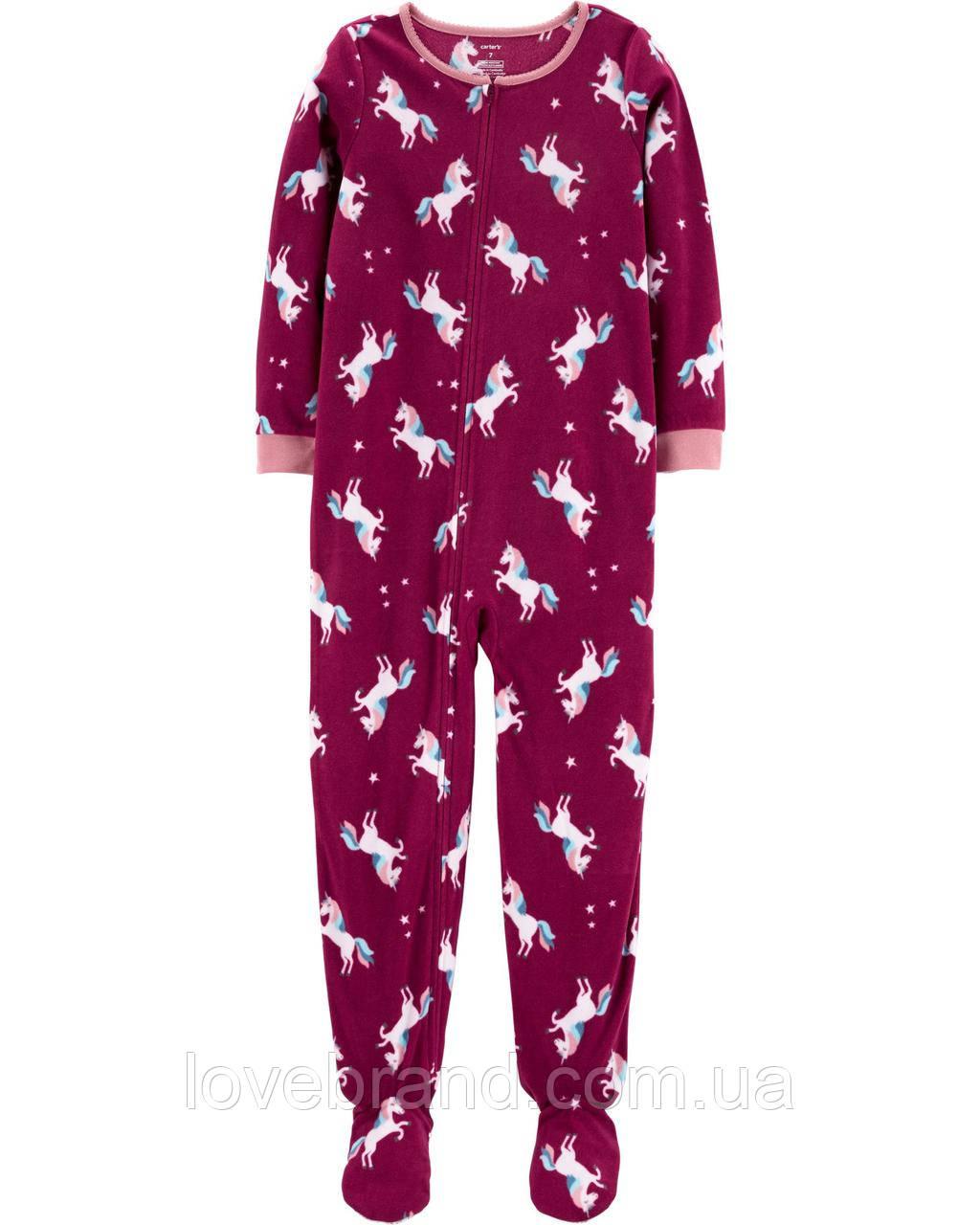 """Флисовый слип пижама для девочки Carter's """"Единорог"""" с ножками"""