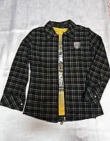 Байковая в клетку рубашка на молнии для мальчиков 110,122,128 роста BLUELAND