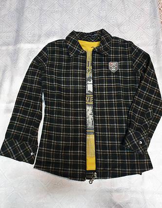 Байковая в клетку рубашка на молнии для мальчиков 110,122,128 роста BLUELAND, фото 2