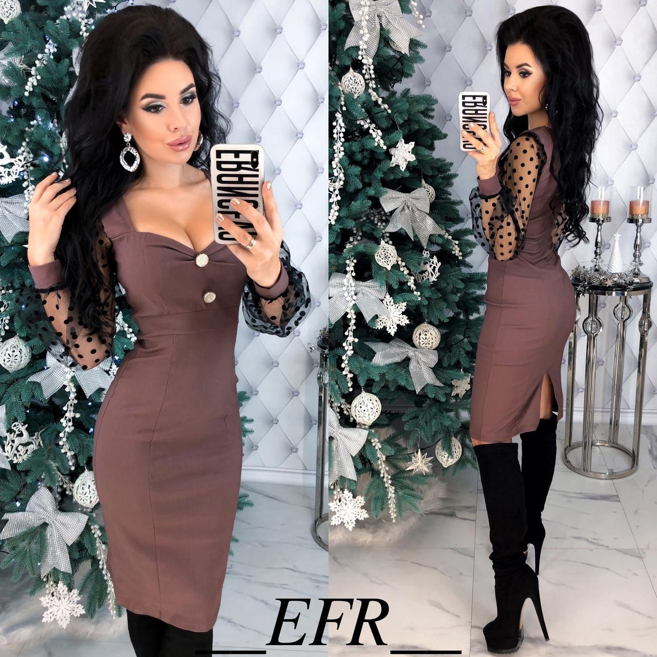 Женское красивое облегающее миди платье с декольте,рукав длинный (стрейч джинс,сетка) 4 цвета