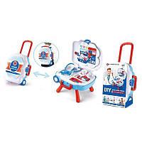 Игровой набор Доктор в Чемодане на колесиках, 2 в 1 чемодан раскладывается в стол,инструменты.