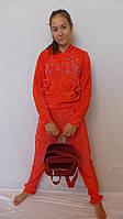 Велюровый костюм в сочетании с гипюром- Бантик(коралл), фото 1