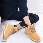 Женские зимние ботинки коричневого цвета, эко кожа (под нубук), фото 10